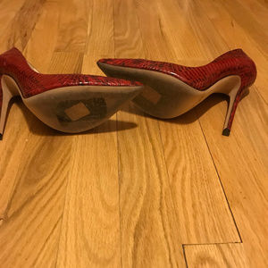 Jimmy Choo Red Snakeskin Pump